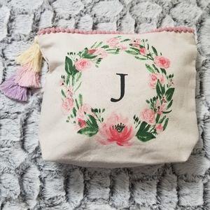 "Beautiful ""J"" Inital Floral Burlap Catch All Bag"